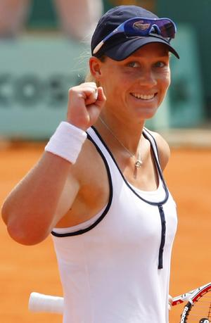 Stosur celebrates after winning her quarter-final match against Cirstea at the French Open tennis tournament at Roland Garros in Paris